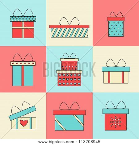 Present box isolated icons on colored background.