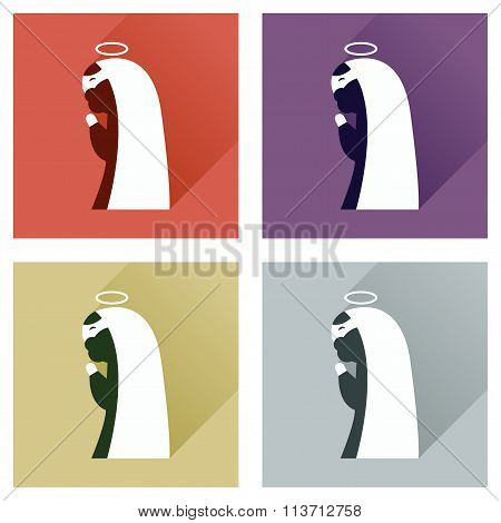 Concept of flat icons with long shadow Father of Jesus Christ