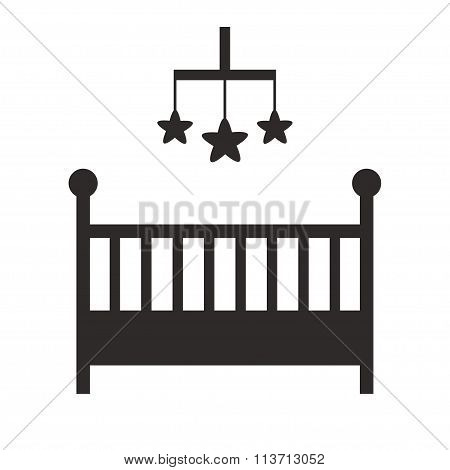 Baby crib isolated black silhouette icon on white background.