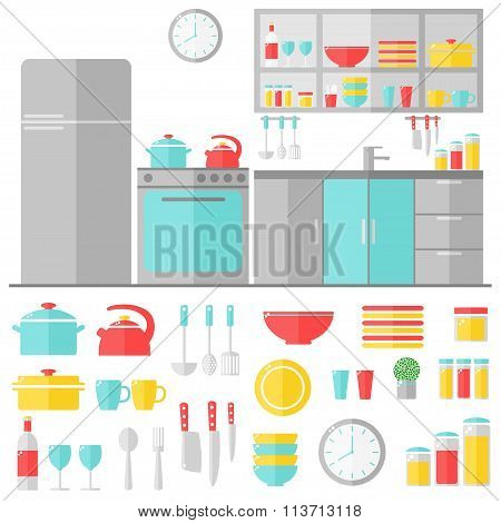 Kitchen interior and cooking utensils on white background.