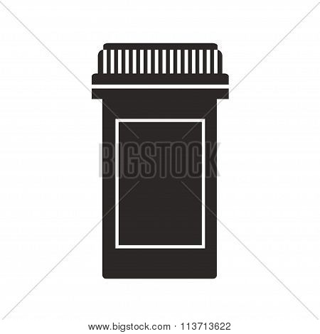 Medicine bottle isolated black silhouette icon on white background.