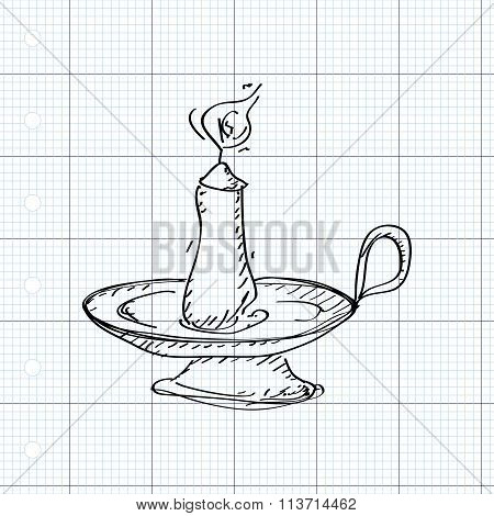 Simple Doodle Of A Candlestick