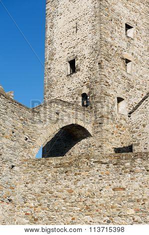 View to the tower of the Castelgrande castle in Bellinzona, Switzerland.