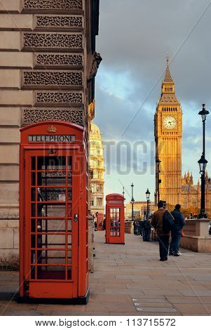 LONDON, UK - SEP 27: Street view with Big Ben and telephone box on September 27, 2013 in London, UK. London is the world's most visited city and the capital of UK.