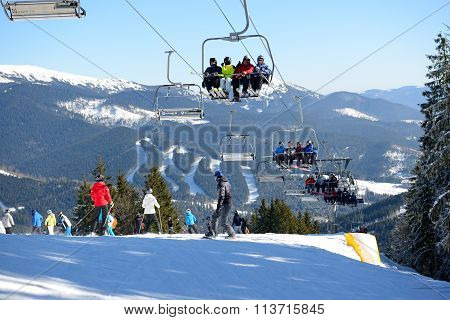 Bukovel, Ukraine - February 17: The Cableway And Skiers On Slope In Bukovel. It Is The Largest Ski R