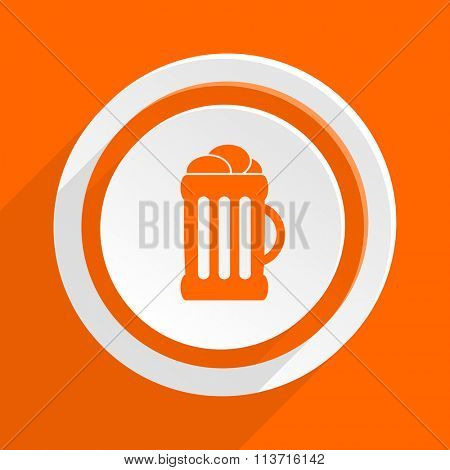 beer orange flat design modern icon for web and mobile app