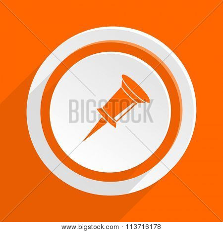 pin orange flat design modern icon for web and mobile app