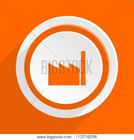 factory orange flat design modern icon for web and mobile app