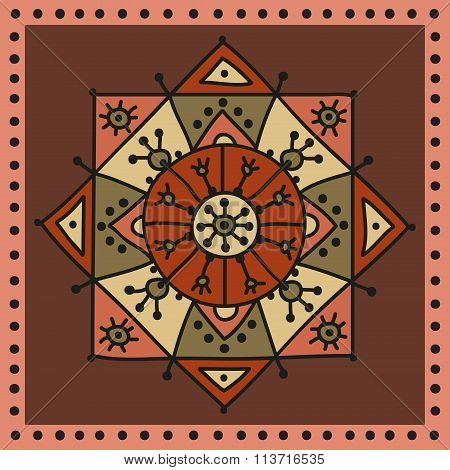 Decorative ethnic rosette in warm colors