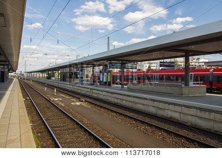 NUREMBERG, GERMANY - AUGUST 23, 2015: Empty station platform at the main station in Nuremberg