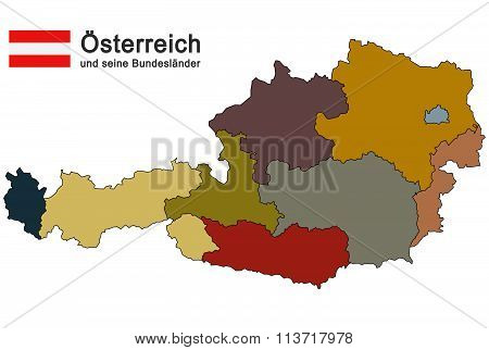 Country Austria with federal states