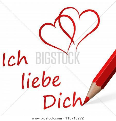 Red Pen With Text I Love You (in german)