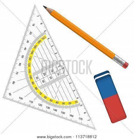 Pencil, Eraser And Protractor