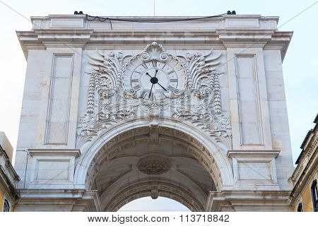 Rua Augusta Arch Backside close-up in Lisbon
