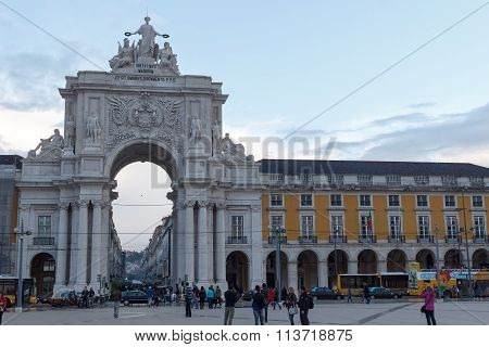 Rua Augusta Arch front in Lisbon in the evening