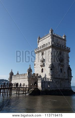 Tourist attraction Belem Tower in Lisbon, Portugal