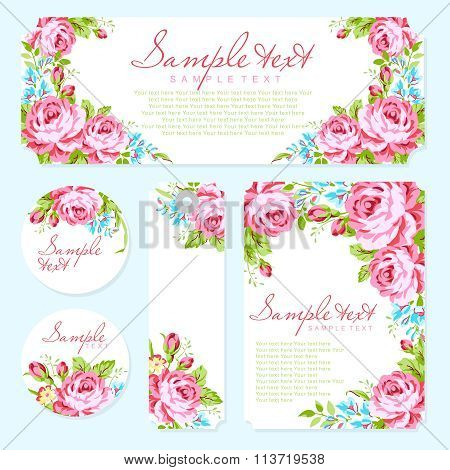 Card Template With Garden Pink Roses