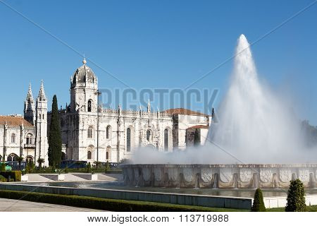 Empire Square fountain and Hieronymites Monastery in Lisbon