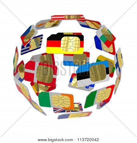 Sim Cards In The Form Of Flags Of Of European Union  Forming The Globe