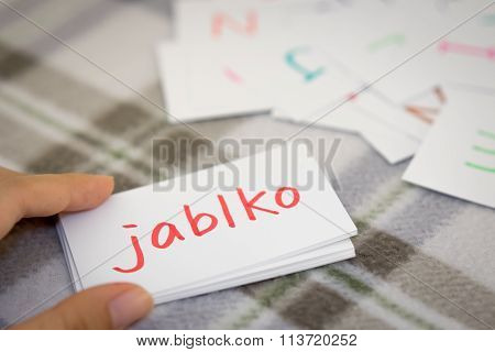 Czech; Learning The New Word With The Alphabet Cards; Writing Apple