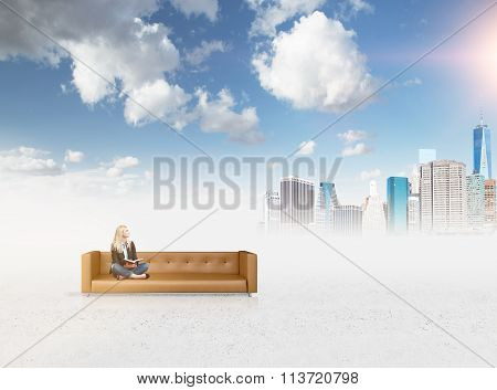 Woman On The Sofa Dreaming