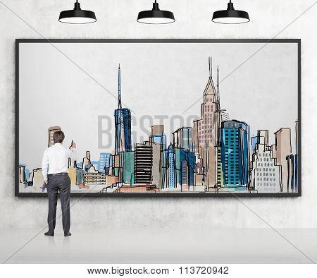 Man Drawing New York