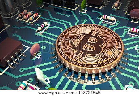 Bitcoin Like A Computer Chip On Motherboard