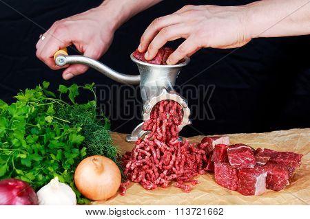 Farmer Man Make Fresh Minced Beef Meat