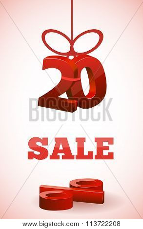 red 3d text SALE with percent discount