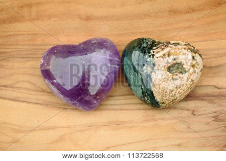 Two colourful hearts