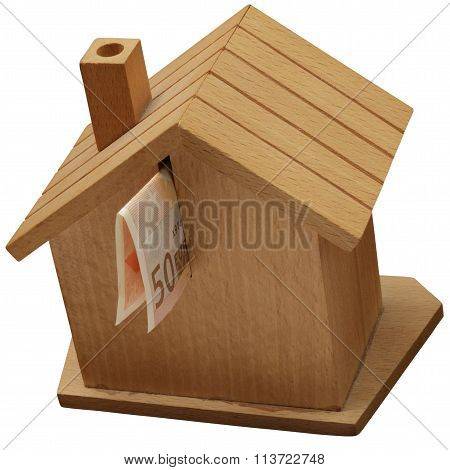 Money Box, Piggy Bank In A Wooden House