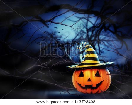 Helloween pumpkin in the forest