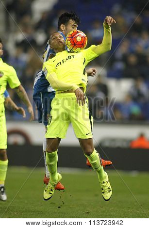 BARCELONA - DEC, 7: Deyverson Brum Silva of Levante UD during a Spanish League match against RCD Espanyol at the Power8 stadium on December 7, 2015 in Barcelona, Spain