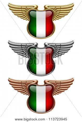 Gold, silver and bronze award signs with wings and Italy state flag. Vector illustration