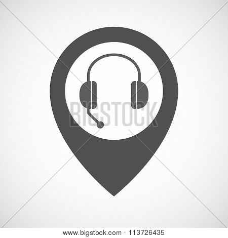 Isolated Map Marker With  A Hands Free Phone Device