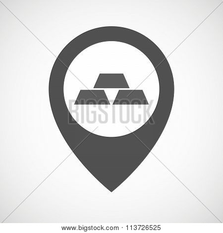 Isolated Map Marker With Three Gold Bullions