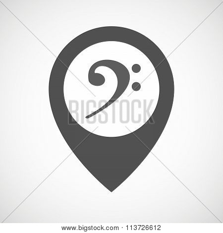 Isolated Map Marker With An F Clef