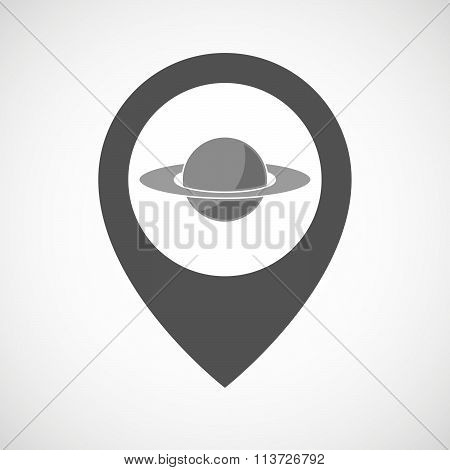 Isolated Map Marker With The Planet Saturn