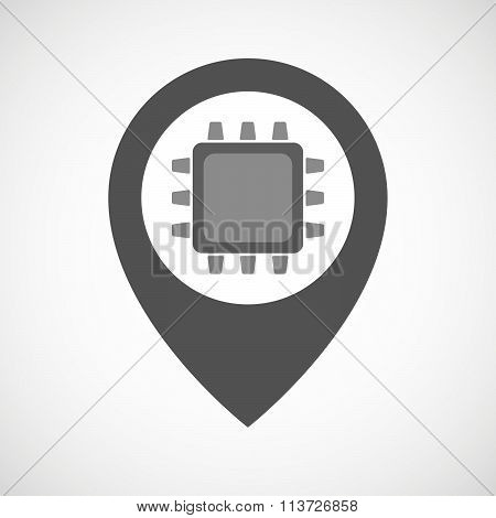 Isolated Map Marker With A Cpu