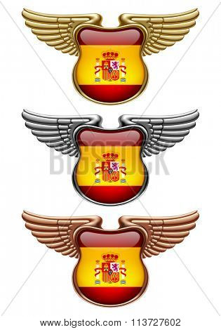 Gold, silver and bronze award signs with wings and Spain state flag. Vector illustration