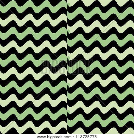 Beautiful Wavy Vector In Green And Black Colors With Little Snakes
