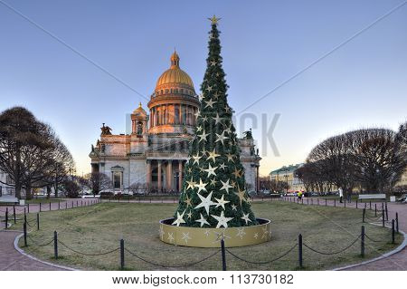 Decorated Christmas Tree On St. Isaac's Square, Saint Petersburg, Russia.