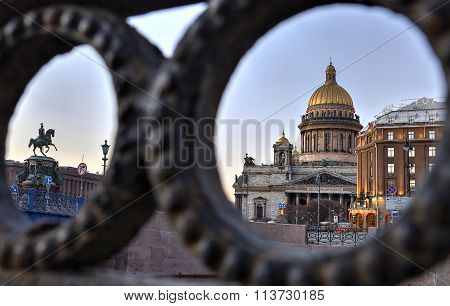 Evening View On St. Isaac's Square In Saint Petersburg, Russia.