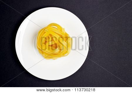 Pasta On The White Plate, Black Background