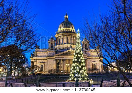 Night Lights Of The Christmas Tree In Front Of St. Isaac's Cathedral.