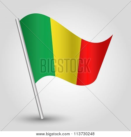 Vector Waving Simple Triangle Malian Flag On Slanted Pole