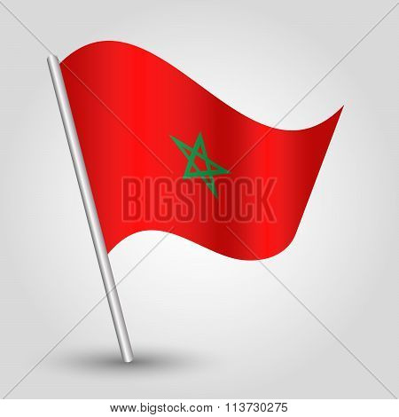 Vector Waving Simple Triangle Moroccan Flag On Slanted Pole