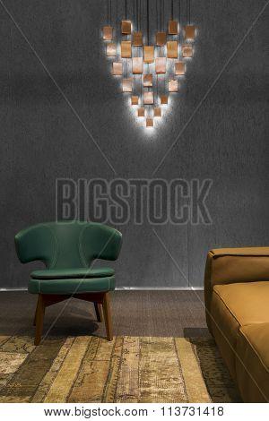 Detail of a dark modern minimalistic living room