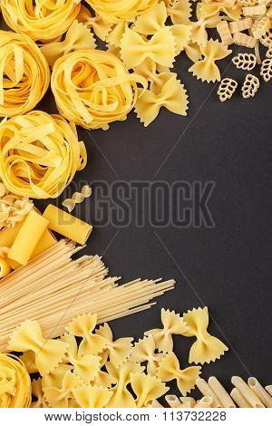 Different Types Of Pasta On The Black Background