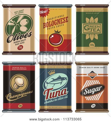 Vintage food cans vector collection